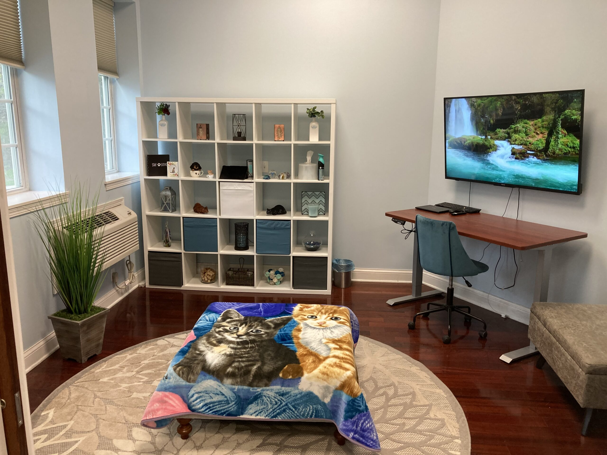 Euthanasia room at Pets Remembered with a comfortable atmosphere for your family and veterinarian.